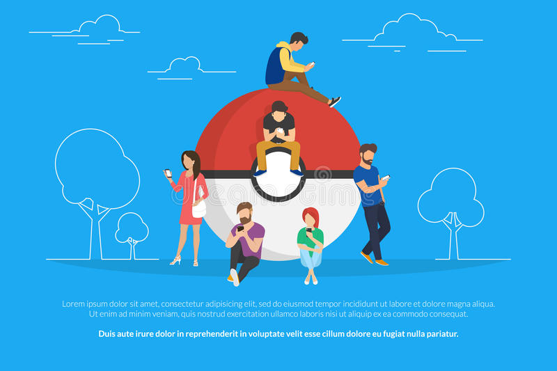 Pokemon concept illustration of young people using smartphones to catch them. Young people standing near big pokemon ball they are addicted to the catching stock illustration