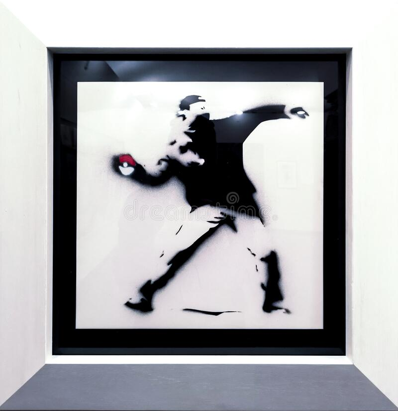 Pokemon, Banksy 2005. Pokemon done by the English street graffiti artist name Banksy, done with spray paint and acrylics on record sleeve in 2005. A man stock photos