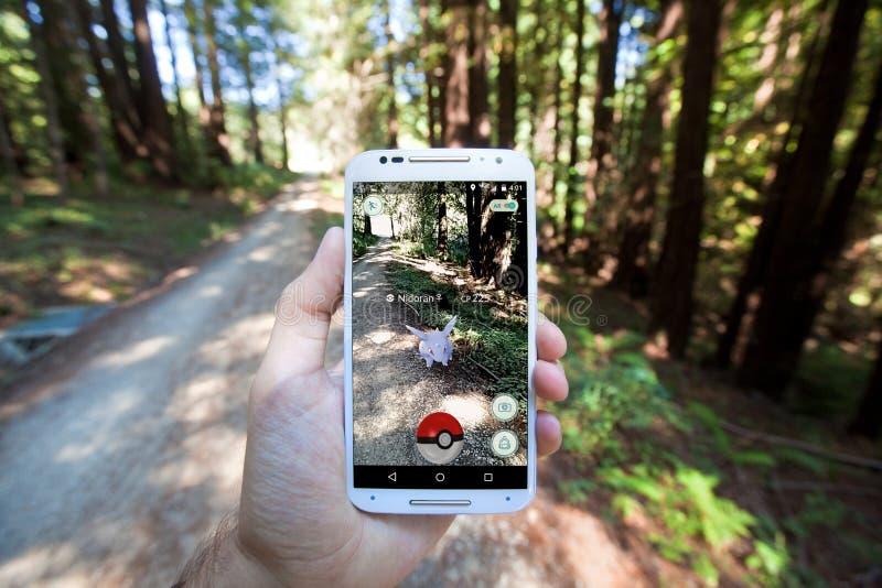 Pokemon GÅR App som visar det Pokemon mötet arkivbilder