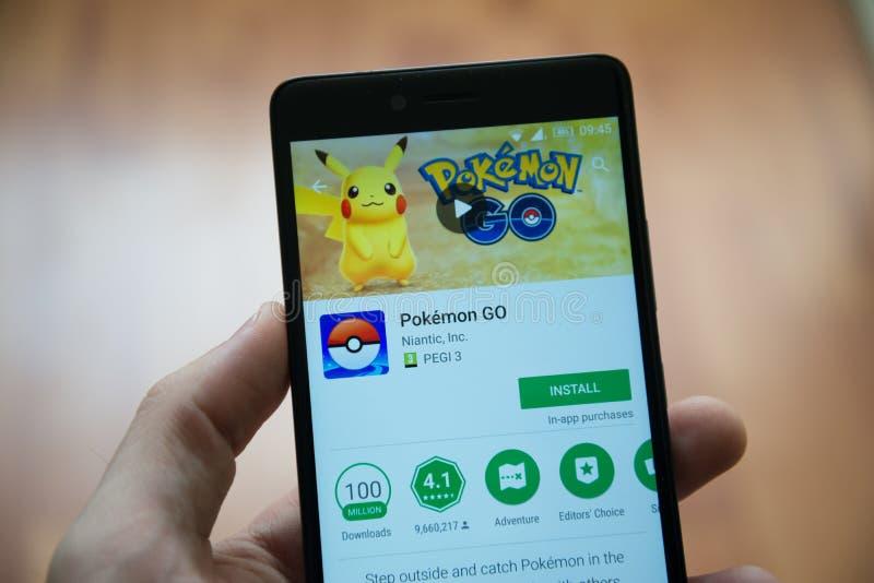 Pokemon gaat toepassing in de opslag van het googlespel stock afbeelding
