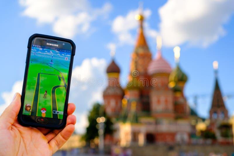 Pokemon gaat toepassing in Moskou, Rusland royalty-vrije stock afbeeldingen