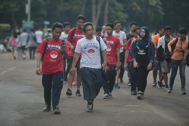 Pokemon gaat trainer in Indonesië stock foto's