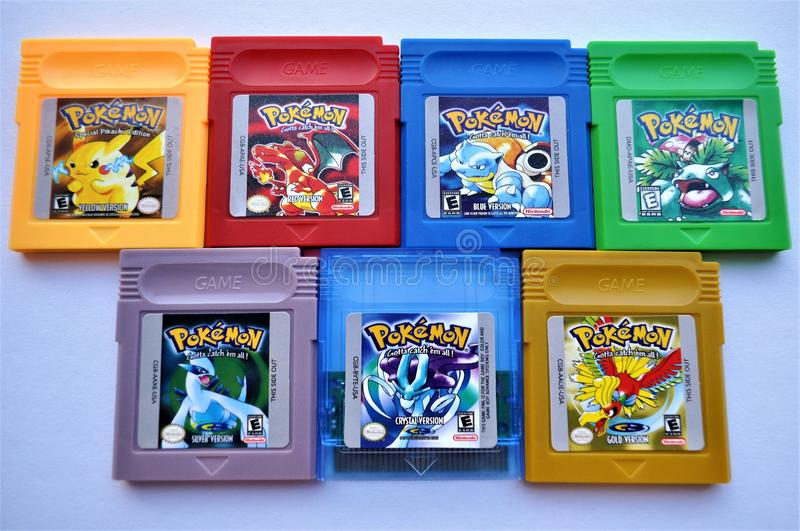 Pokemon complete GBA Collection Games royalty free stock photography