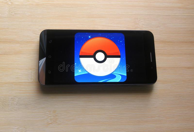 Pokemon GO game on mobile phone stock images