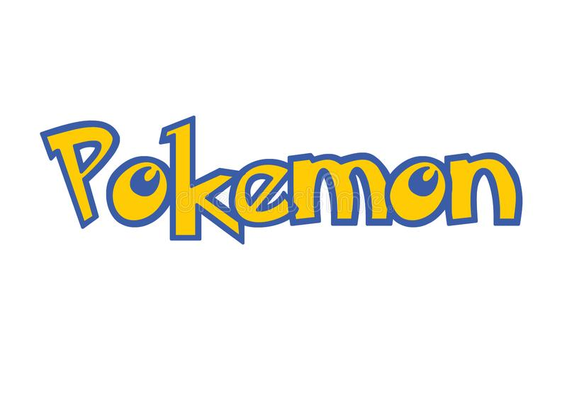 Pokemon Go logo with yellow and blue color isolated on white royalty free illustration