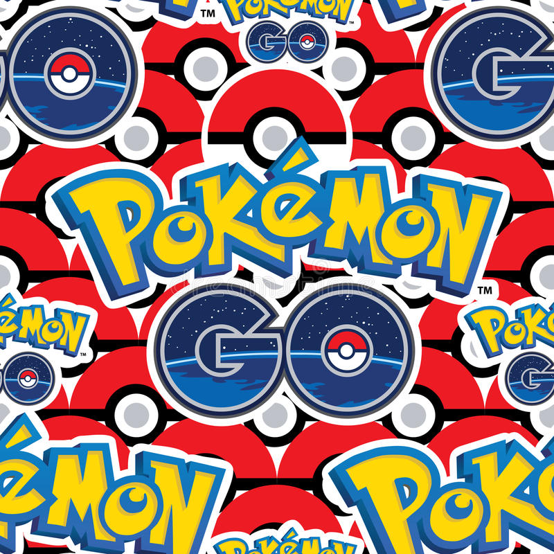 Pokemon Go many balls seamless pattern royalty free illustration