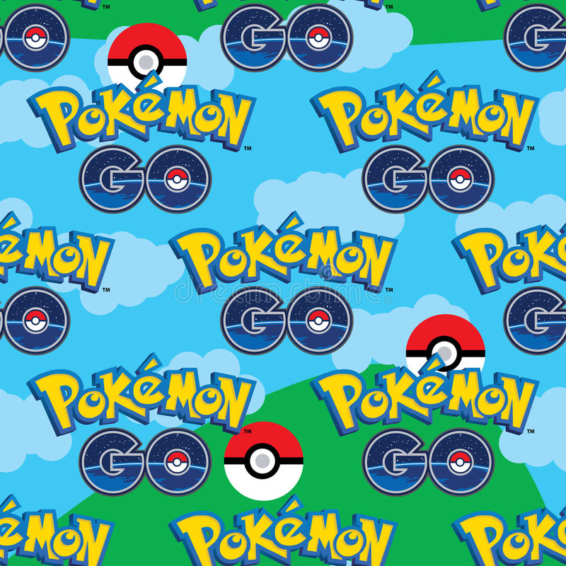 Pokemon Go sky seamless pattern vector illustration