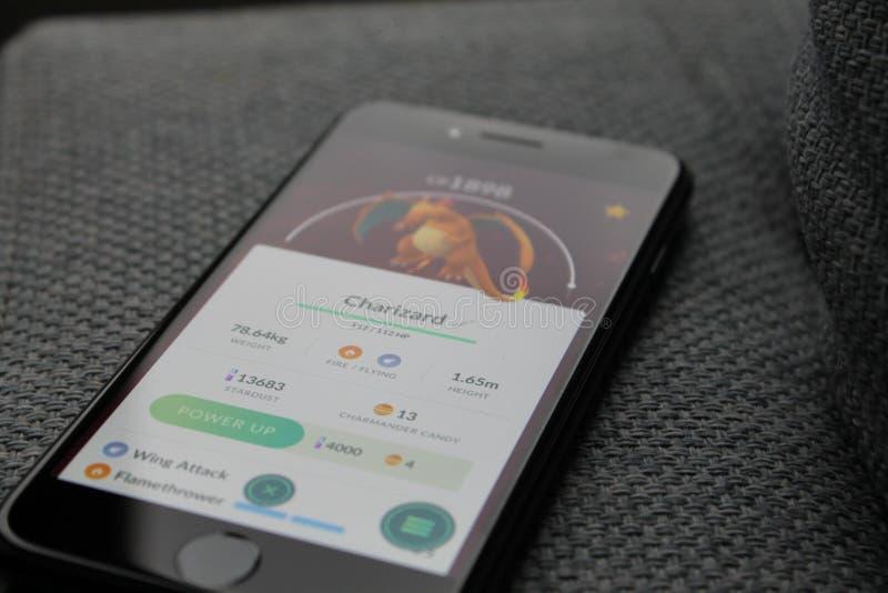 Pokemon Go on smartphone stock photo
