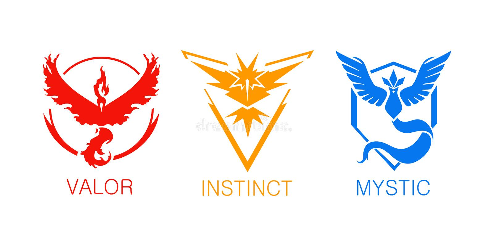 Pokemon go team icons from mobile phone game. Montevideo, Uruguay - September 6 2016: Color icon set of the teams from pokemon go on isolated background. Pokemon