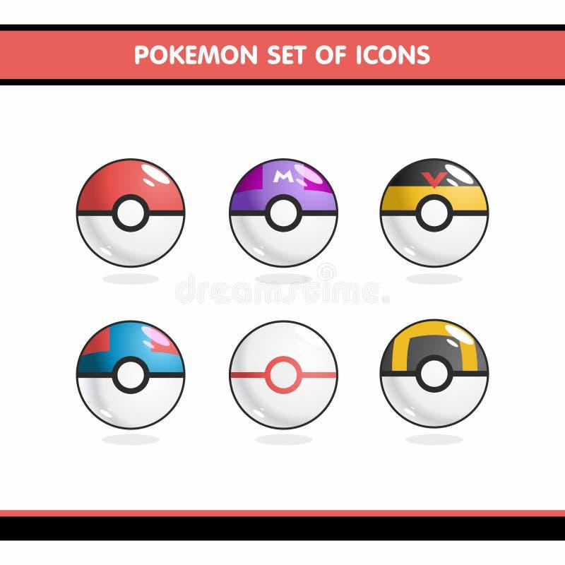 Pokemon-Ikonen eingestellt vektor abbildung