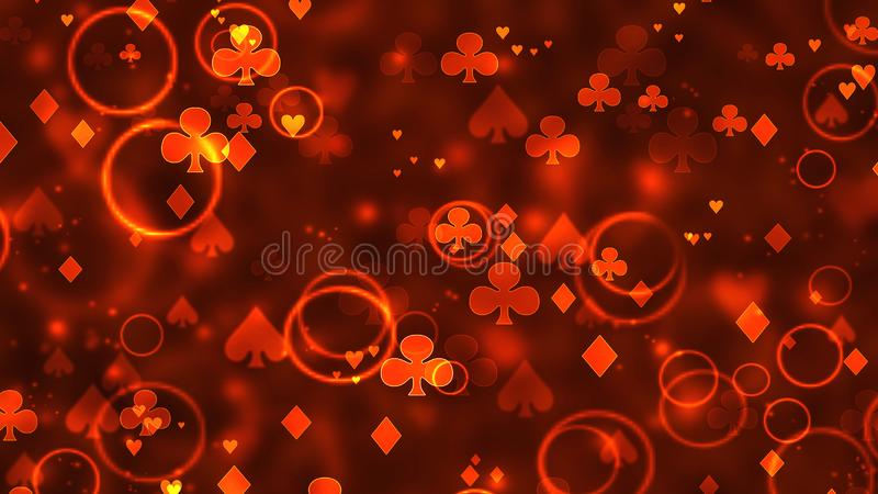 Poker abstract casino bokeh pattern of chaotic playing cards icons in space.  stock image