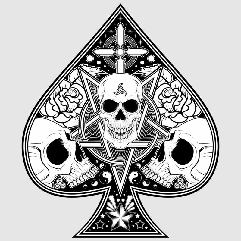 Poker Ace Skulls. Vector design of symbol of ace of pokes with pink skulls and other details, in black and white royalty free illustration