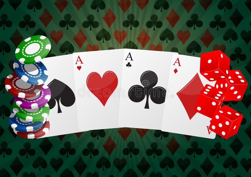 Poker aces. Illustration of aces cards playng with chips and dice stock illustration