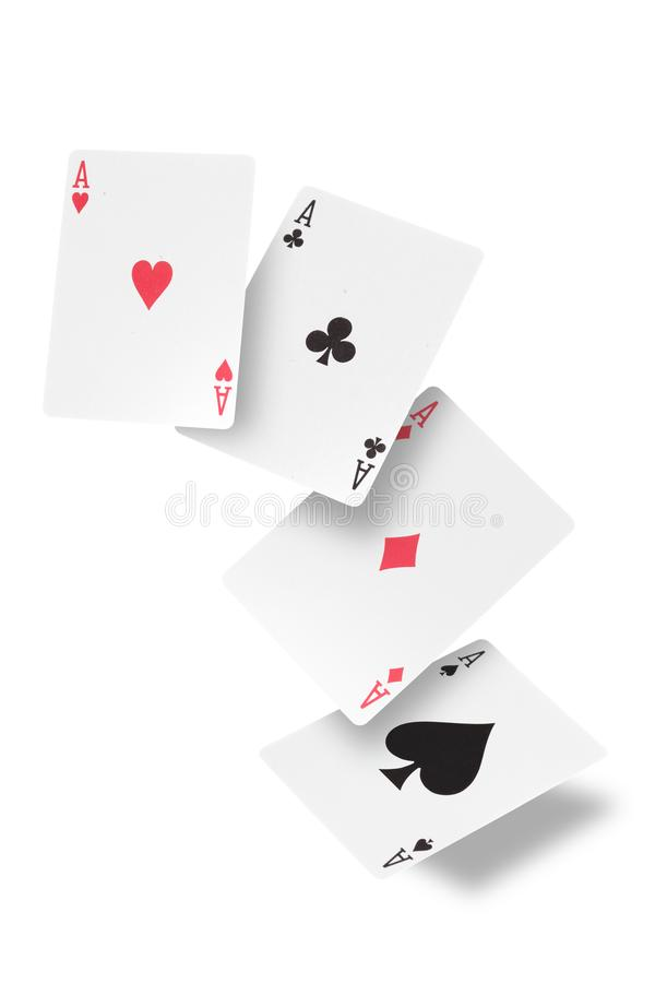 Poker of aces isolado em fundo branco com caminho de recorte e espaço de cópia para o seu texto foto de stock