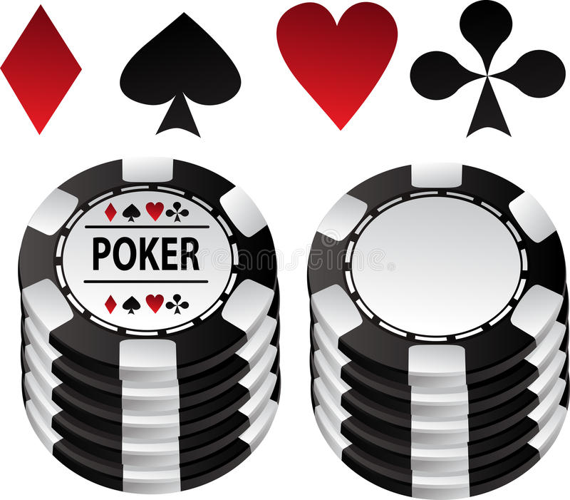 Poker black gambling chips and suit royalty free stock photos