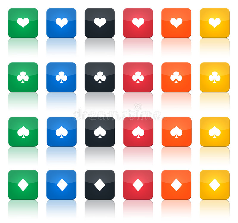 Poker button set. Illustration of a set of some square poker-button, with the 4 classical symbol and in different colours vector illustration