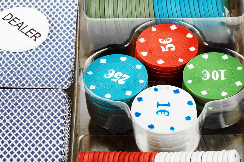 Poker card and chips set stock photography