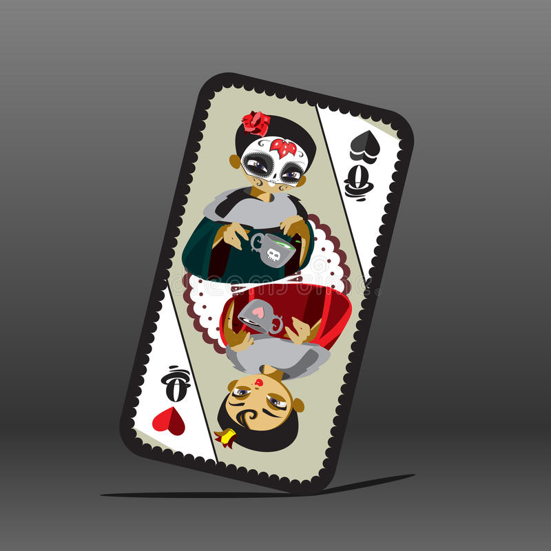 Poker card with queen. Dark and light queen stock illustration