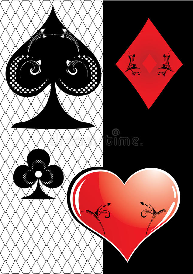 Poker card symbol. With floral element royalty free illustration