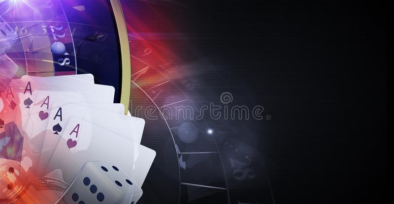 Poker Cards Casino Games. Poker Cards and Other Casino Games Conceptual 3D Rendered Illustration Banner with Copy Space stock illustration