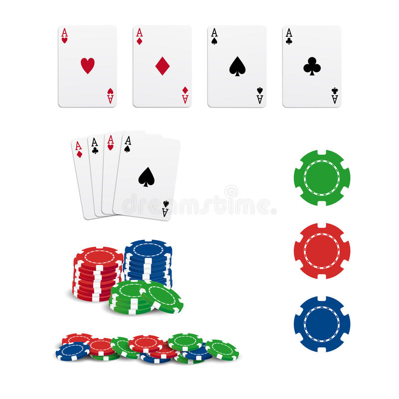 Poker cards and chips. Isolated on white background stock illustration
