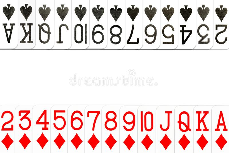 Poker cards clubs and diamonds in row. With copyspace royalty free illustration