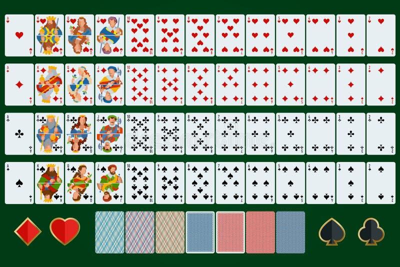 Poker cards den fulla uppsättningen Plan design Pokeruppsättning med kort på grön bakgrund vektor illustrationer