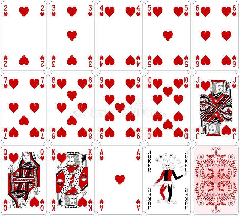Poker cards heart set two color classic design royalty free illustration