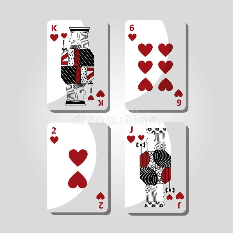 Poker cards hearts casino gamling symbol stock illustration