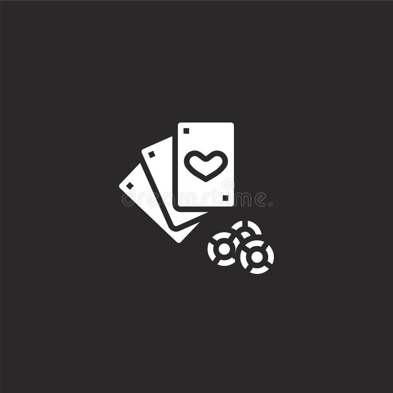 Poker cards icon. Filled poker cards icon for website design and mobile, app development. poker cards icon from filled hobby. Collection isolated on black vector illustration
