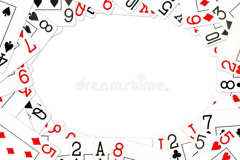 Poker cards mixed on the table. With copyspace stock illustration