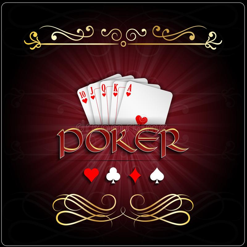 Poker cards with straight flush hearts stock illustration