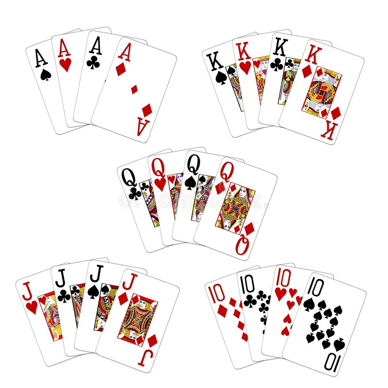 Poker Cards and Suits. Sets of playing cards in different suits stock illustration