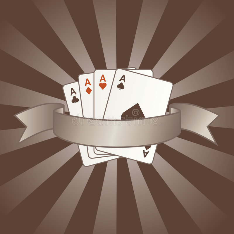 Poker cards vector. With ribbon stock illustration