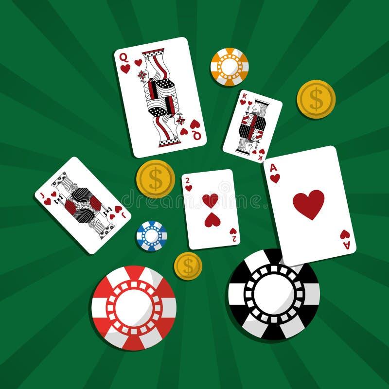 Poker casino cards chip money green background stock illustration