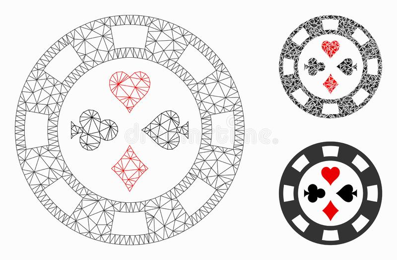 Poker Casino Chip Vector Mesh Carcass Model and Triangle Mosaic Icon. Mesh poker casino chip model with triangle mosaic icon. Wire carcass triangular mesh of vector illustration