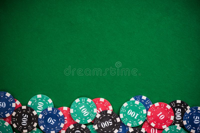 Poker casino chips border background stock photos