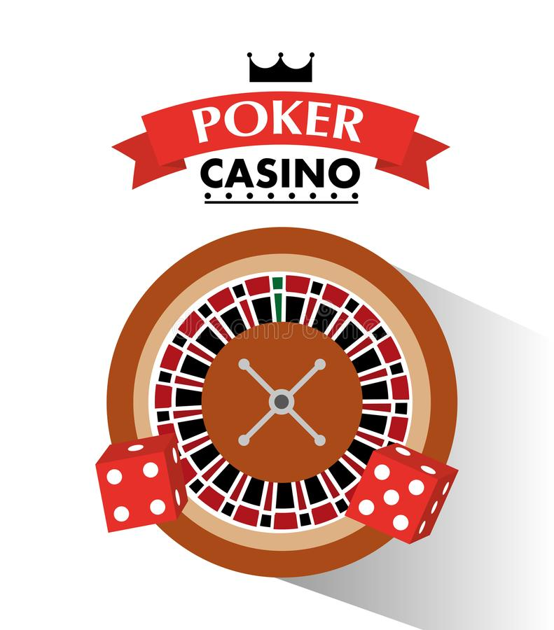 Poker casino dice and roulette wheel bets game. Vector illustration royalty free illustration