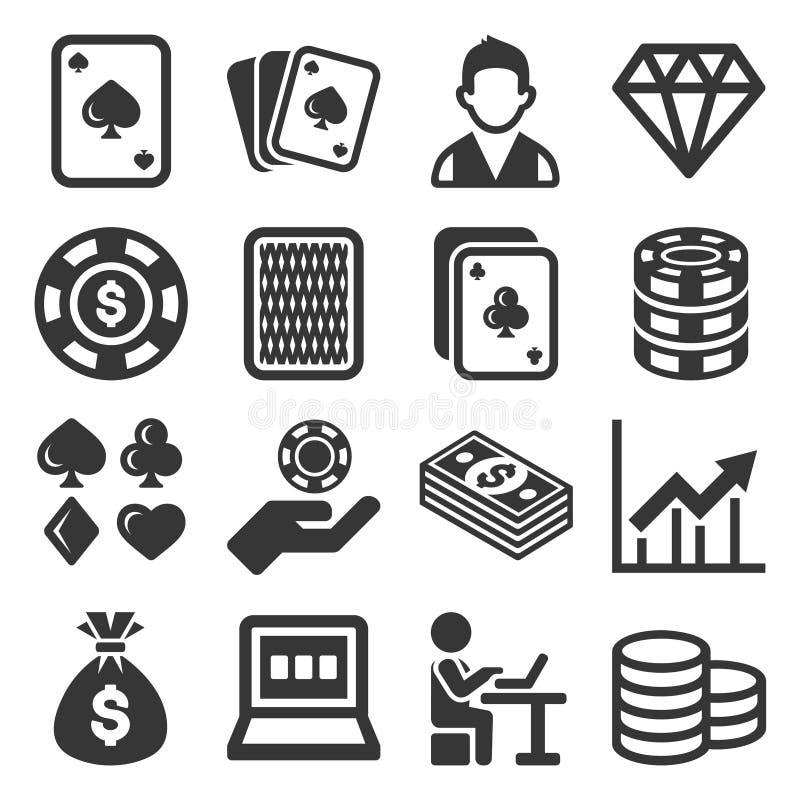 Poker Casino Gambling Icons Set on White Background. Vector. Illustration stock illustration