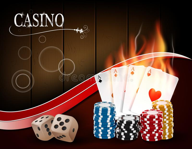 Poker casino gambling set with dice, cards, and chips on wood background. Illustration of Poker casino gambling set with dice, cards, and chips on wood royalty free illustration
