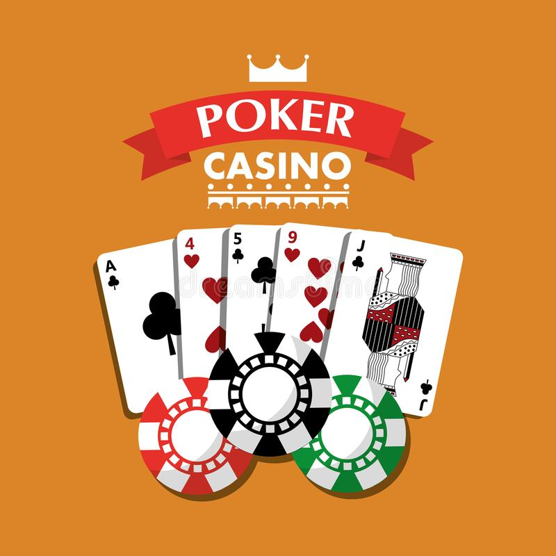 Poker casino playing cards combination chips banner vector illustration