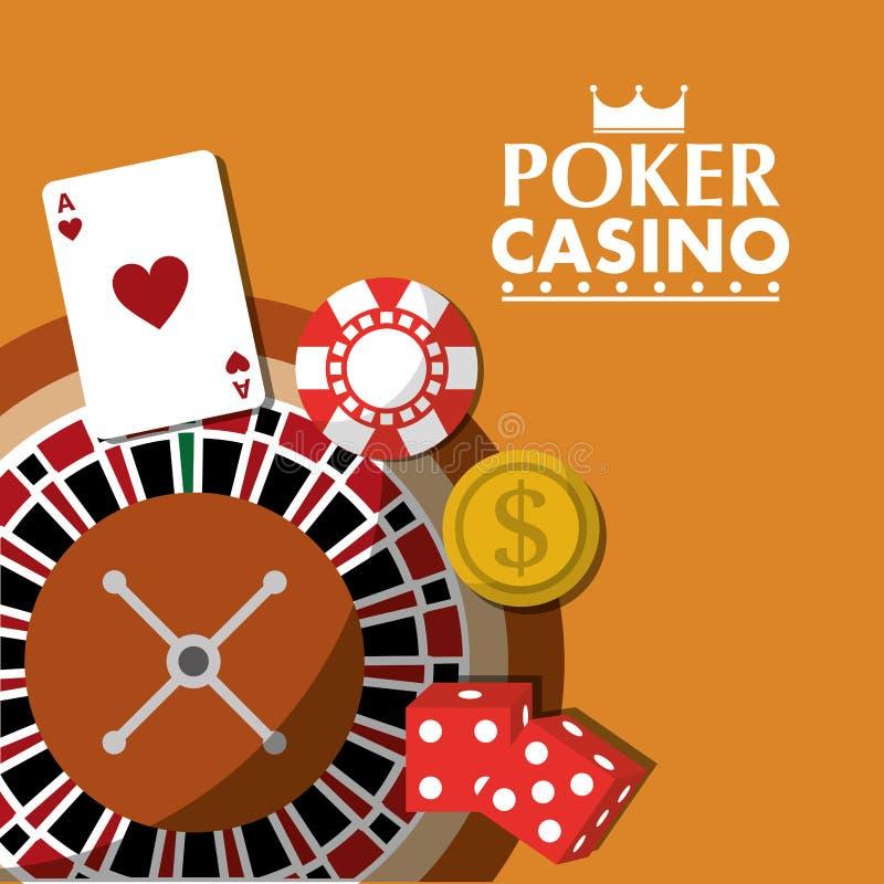 Poker casino roulette wheel dice money card chip. Vector illustration vector illustration