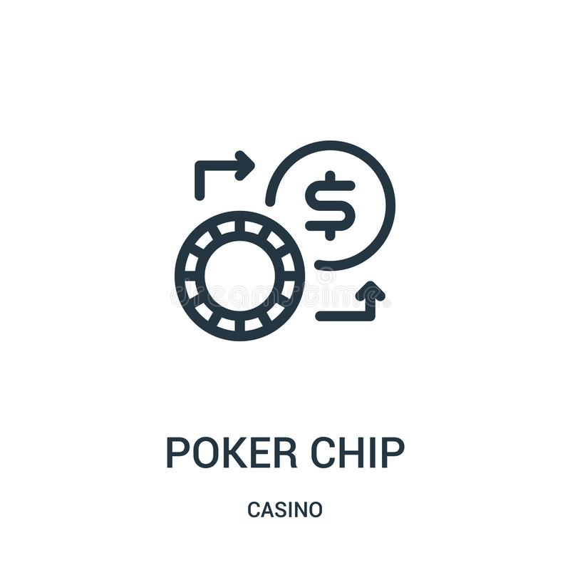 poker chip icon vector from casino collection. Thin line poker chip outline icon vector illustration vector illustration