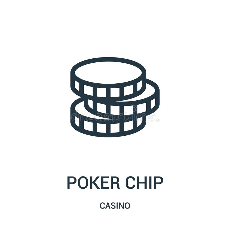 poker chip icon vector from casino collection. Thin line poker chip outline icon vector illustration royalty free illustration