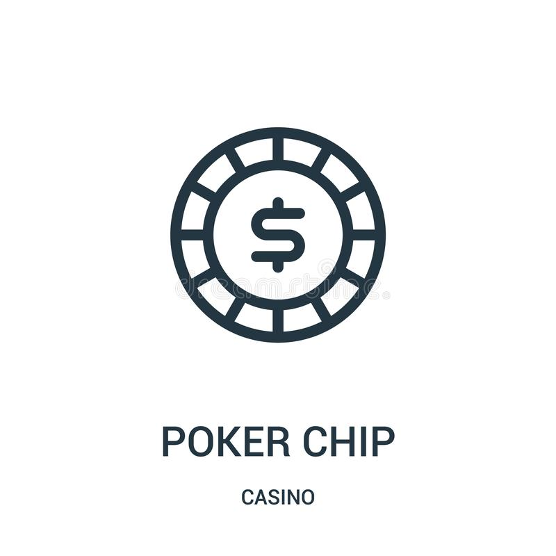 poker chip icon vector from casino collection. Thin line poker chip outline icon vector illustration stock illustration
