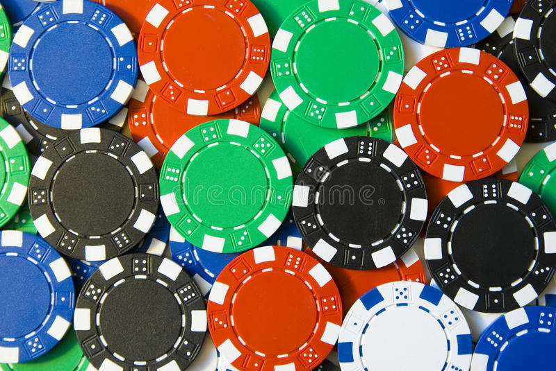 Poker Chips. Lots of poker chips lying down stock photo