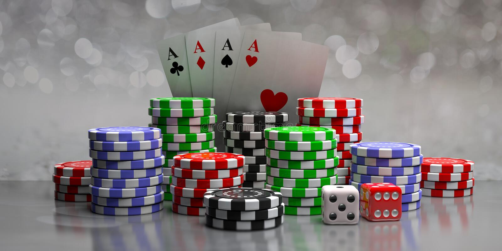 Poker chips, aces cards and dice on abstract bokeh background, front view. 3d illustration stock illustration