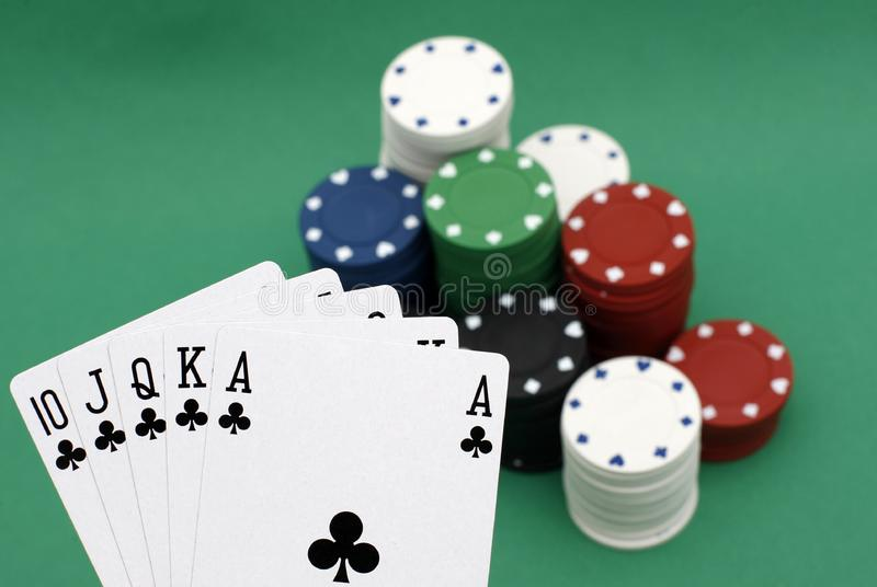 Poker chips and cards royalty free stock photos