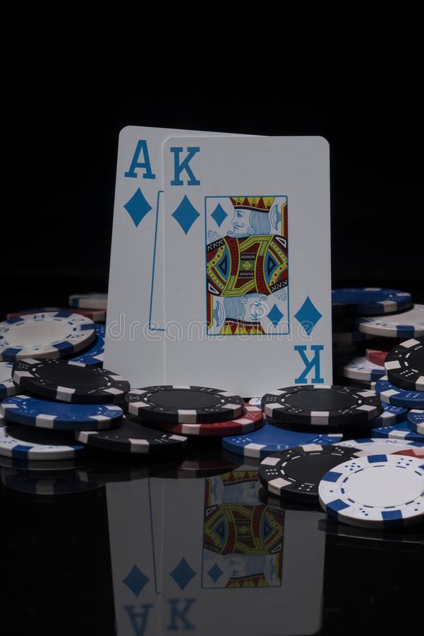Poker chips and cards. royalty free stock images