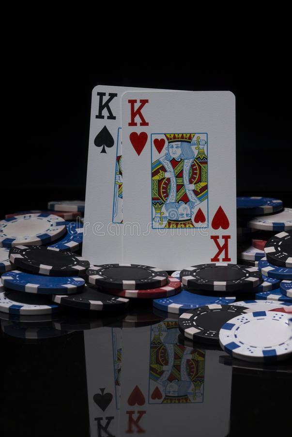 Poker chips and cards. royalty free stock photos